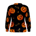Funny Scary Black Orange Halloween Pumpkins Pattern Women s Sweatshirt View2