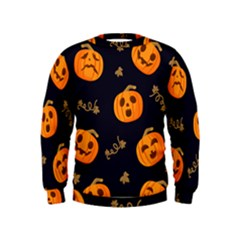 Funny Scary Black Orange Halloween Pumpkins Pattern Kids  Sweatshirt