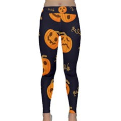 Funny Scary Black Orange Halloween Pumpkins Pattern Classic Yoga Leggings