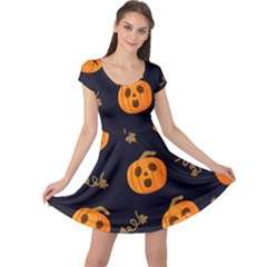 Funny Scary Black Orange Halloween Pumpkins Pattern Cap Sleeve Dress