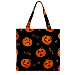Funny Scary Black Orange Halloween Pumpkins Pattern Zipper Grocery Tote Bag by HalloweenParty