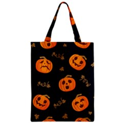 Funny Scary Black Orange Halloween Pumpkins Pattern Zipper Classic Tote Bag