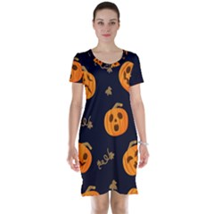 Funny Scary Black Orange Halloween Pumpkins Pattern Short Sleeve Nightdress