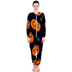 Funny Scary Black Orange Halloween Pumpkins Pattern Onepiece Jumpsuit (ladies)