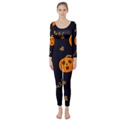 Funny Scary Black Orange Halloween Pumpkins Pattern Long Sleeve Catsuit