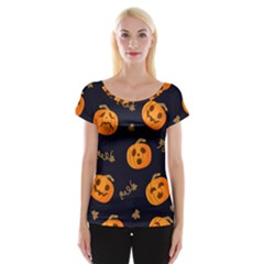 Funny Scary Black Orange Halloween Pumpkins Pattern Cap Sleeve Top
