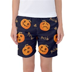Funny Scary Black Orange Halloween Pumpkins Pattern Women s Basketball Shorts
