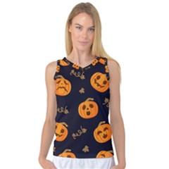Funny Scary Black Orange Halloween Pumpkins Pattern Women s Basketball Tank Top by HalloweenParty
