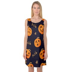 Funny Scary Black Orange Halloween Pumpkins Pattern Sleeveless Satin Nightdress