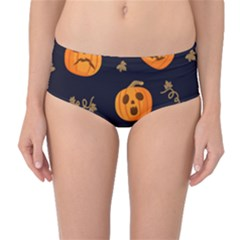 Funny Scary Black Orange Halloween Pumpkins Pattern Mid Waist Bikini Bottoms
