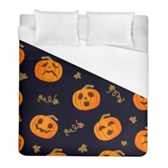 Funny Scary Black Orange Halloween Pumpkins Pattern Duvet Cover (full/ Double Size)