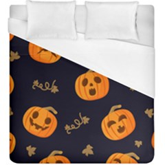 Funny Scary Black Orange Halloween Pumpkins Pattern Duvet Cover (king Size)