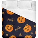 Funny Scary Black Orange Halloween Pumpkins Pattern Duvet Cover (King Size) View1