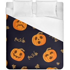 Funny Scary Black Orange Halloween Pumpkins Pattern Duvet Cover (california King Size)
