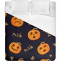 Funny Scary Black Orange Halloween Pumpkins Pattern Duvet Cover (California King Size) View1
