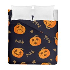 Funny Scary Black Orange Halloween Pumpkins Pattern Duvet Cover Double Side (full/ Double Size)