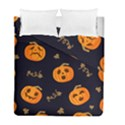 Funny Scary Black Orange Halloween Pumpkins Pattern Duvet Cover Double Side (Full/ Double Size) View1
