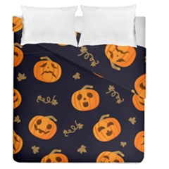 Funny Scary Black Orange Halloween Pumpkins Pattern Duvet Cover Double Side (queen Size)