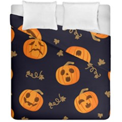 Funny Scary Black Orange Halloween Pumpkins Pattern Duvet Cover Double Side (california King Size)