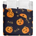 Funny Scary Black Orange Halloween Pumpkins Pattern Duvet Cover Double Side (California King Size) View1
