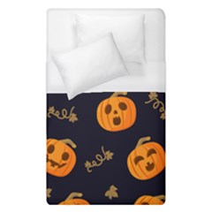 Funny Scary Black Orange Halloween Pumpkins Pattern Duvet Cover (single Size)