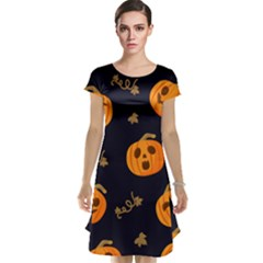 Funny Scary Black Orange Halloween Pumpkins Pattern Cap Sleeve Nightdress by HalloweenParty