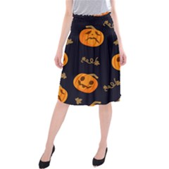 Funny Scary Black Orange Halloween Pumpkins Pattern Midi Beach Skirt