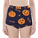 Funny Scary Black Orange Halloween Pumpkins Pattern High-Waisted Bikini Bottoms View1