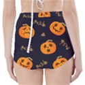 Funny Scary Black Orange Halloween Pumpkins Pattern High-Waisted Bikini Bottoms View2