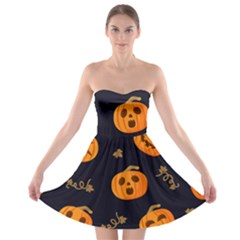 Funny Scary Black Orange Halloween Pumpkins Pattern Strapless Bra Top Dress