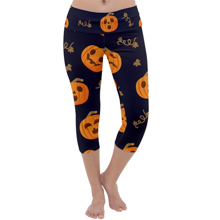 Funny Scary Black Orange Halloween Pumpkins Pattern Capri Yoga Leggings