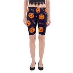 Funny Scary Black Orange Halloween Pumpkins Pattern Yoga Cropped Leggings