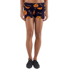 Funny Scary Black Orange Halloween Pumpkins Pattern Yoga Shorts