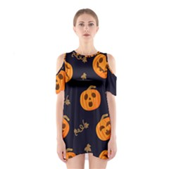 Funny Scary Black Orange Halloween Pumpkins Pattern Shoulder Cutout One Piece Dress