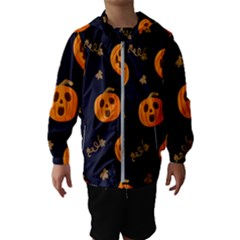 Funny Scary Black Orange Halloween Pumpkins Pattern Hooded Windbreaker (kids)
