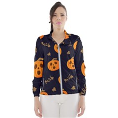 Funny Scary Black Orange Halloween Pumpkins Pattern Windbreaker (women)