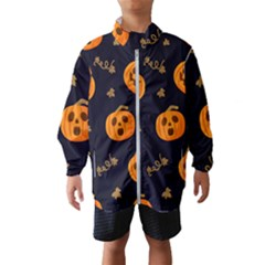 Funny Scary Black Orange Halloween Pumpkins Pattern Windbreaker (kids)