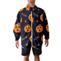 Funny Scary Black Orange Halloween Pumpkins Pattern Windbreaker (Kids) View1