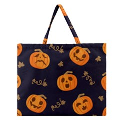 Funny Scary Black Orange Halloween Pumpkins Pattern Zipper Large Tote Bag by HalloweenParty