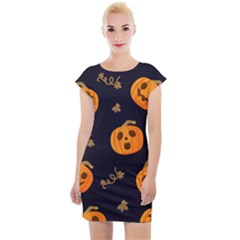Funny Scary Black Orange Halloween Pumpkins Pattern Cap Sleeve Bodycon Dress