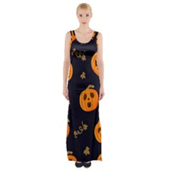 Funny Scary Black Orange Halloween Pumpkins Pattern Maxi Thigh Split Dress