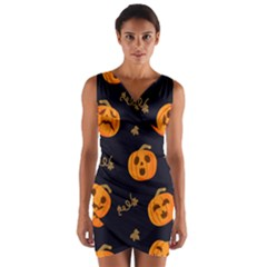 Funny Scary Black Orange Halloween Pumpkins Pattern Wrap Front Bodycon Dress
