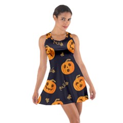 Funny Scary Black Orange Halloween Pumpkins Pattern Cotton Racerback Dress