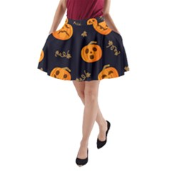 Funny Scary Black Orange Halloween Pumpkins Pattern A Line Pocket Skirt