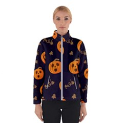 Funny Scary Black Orange Halloween Pumpkins Pattern Winter Jacket