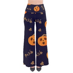 Funny Scary Black Orange Halloween Pumpkins Pattern So Vintage Palazzo Pants