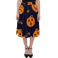 Funny Scary Black Orange Halloween Pumpkins Pattern Classic Midi Skirt