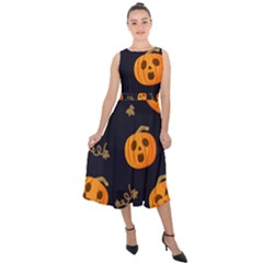 Funny Scary Black Orange Halloween Pumpkins Pattern Midi Tie Back Chiffon Dress