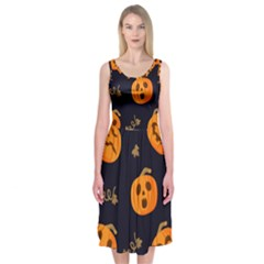 Funny Scary Black Orange Halloween Pumpkins Pattern Midi Sleeveless Dress