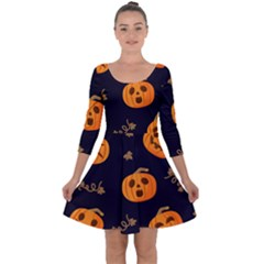Funny Scary Black Orange Halloween Pumpkins Pattern Quarter Sleeve Skater Dress